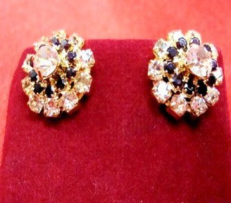earrings - Black & Diamonte