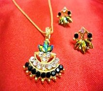 Necklace 3-toned Green/Yellow