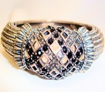 Silver Black Diamonte Bangle