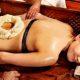 Woman having Ayurvedic kati basti treatment