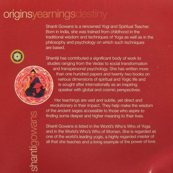 shanti yoga cd inner cover, spiritual journey to origins, yearnings and destiny